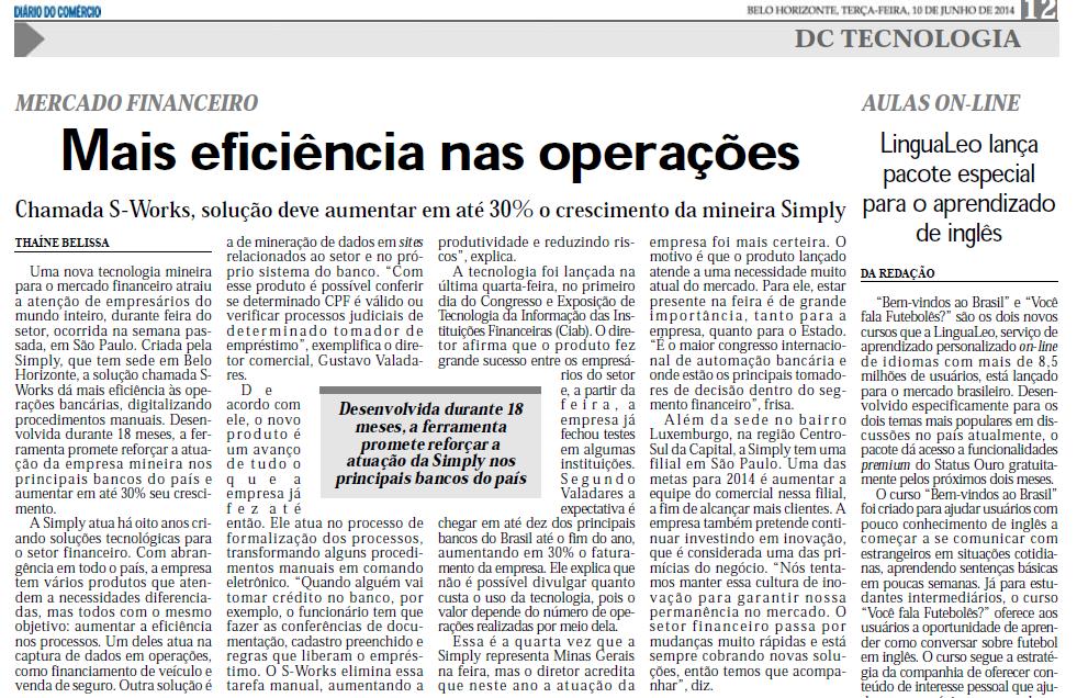 Mais eficiência nas operações | Diário do Comércio